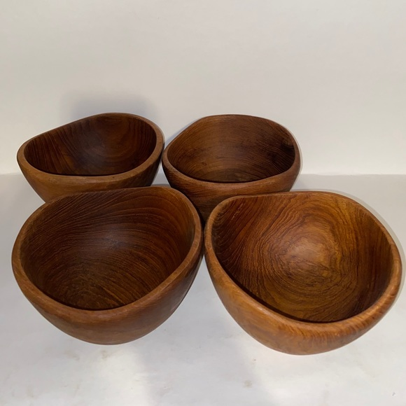 Rustic Wood Bowls Cottagecore Farmhouse Set of 4